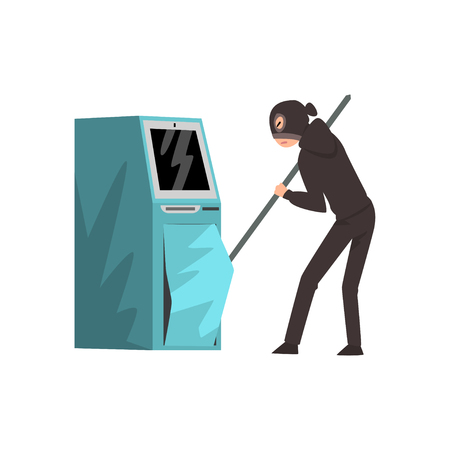 Male Burglar Dressed in Black Clothes and Masks Trying to Steal Money from ATM Vector Illustration on White Background.