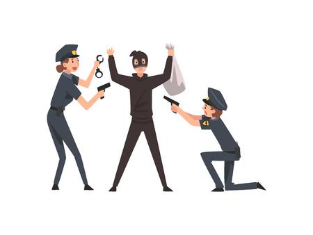 Un policier armé a arrêté un voleur de banque, un homme de police et une femme pris en flagrant délit d'illustration vectorielle sur fond blanc. Vecteurs
