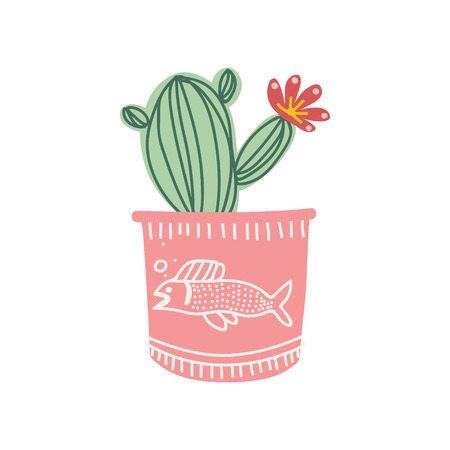 Blooming Cactus Indoor House Plant Growing in Cute Pink Pot, Design Element for Natural Home Interior Decoration Vector Illustration on White Background. Çizim
