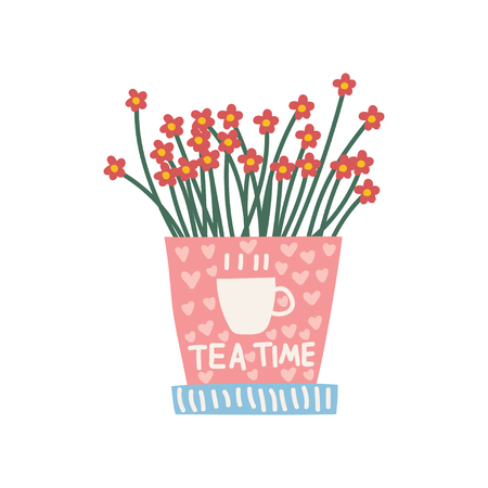 Red Flowers Growing in Cute Pink Pot, Design Element for Natural Home Interior Decoration Vector Illustration on White Background.