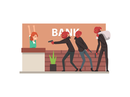 Bank Robbery, Group of Male Thieves Committing Burglary Vector Illustration in Flat Style Illustration