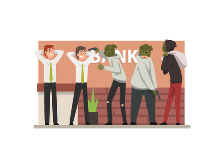 Bank Robbery, Group of Male Criminals in Masks Threatening Employees Committing Burglary Vector Illustration in Flat Style