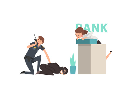 Bank Robbery, Police Man Caught Criminal, Police Officer Arrested Robber Vector Illustration on White Background.
