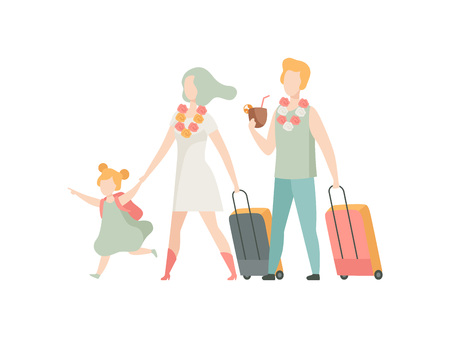 Happy Family Travelling Together with Suitcases, Father, Mother and Daughter on Summer Vacation Vector Illustration on White Background.