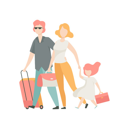 Happy Family Travelling Together with Suitcase, Father, Mother and Daughter on Vacation Vector Illustration on White Background.
