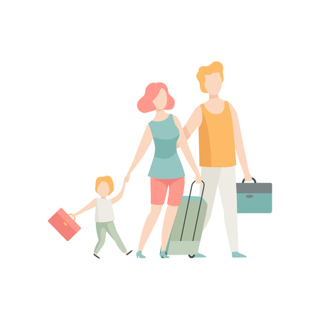 Family Travelling, Father, Mother and Son Walking with Suitcases Vector Illustration on White Background. Stock Illustratie