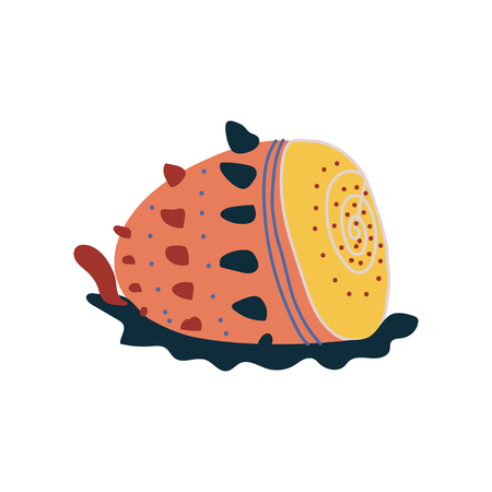 Tropical Shell, Underwater Colorful Sea Creature Vector Illustration Illustration
