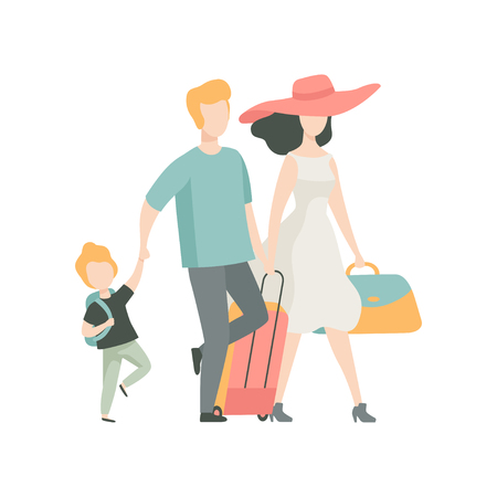 Happy Family Travelling, Father, Mother and Son Walking with Suitcase Vector Illustration on White Background.