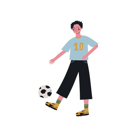 Male Soccer Player Kicking Ball, Active Healthy Lifestyle Vector Illustration on White Background.