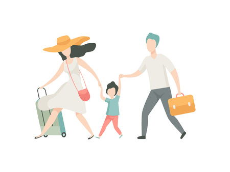 Happy Family Travelling Together with Suitcases, Father, Mother and Son Going on Summer Vacation Vector Illustration on White Background.