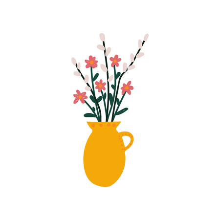 Spring Flowers and Sprigs of Willow in Vase, Beautiful Bouquet of Fresh Flowers Vector Illustration on White Background.
