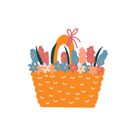 Beautiful Spring Flowers in Basket Vector Illustration on White Background.