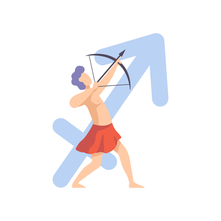 Sagittarius Zodiac Sign, Young Man Wearing Clothes in Style of Ancient Greece Vector Illustratio
