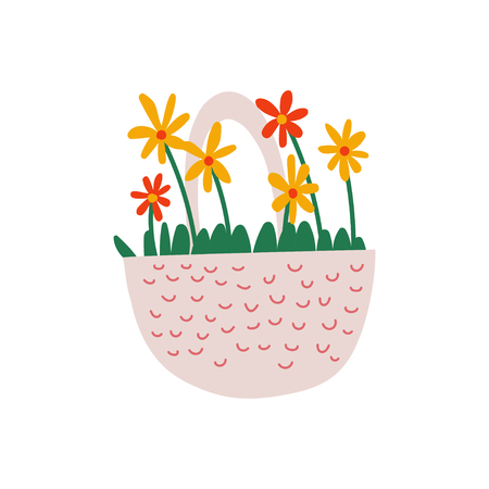 Beautiful Red and Yellow Spring Flowers in Basket Vector Illustration on White Background.