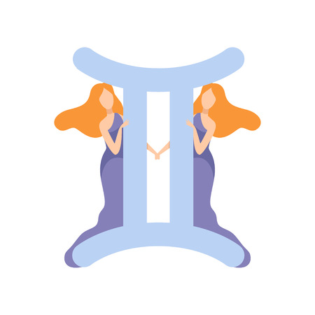 Gemini Zodiac Sign, Young Beautiful Woman Wearing Clothes in Style of Ancient Greece Vector Illustration Ilustração