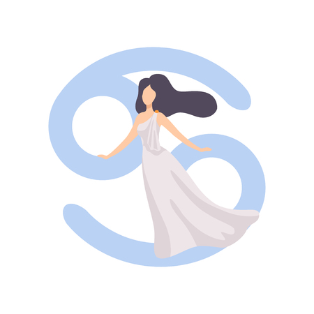 Cancer Zodiac Sign, Young Beautiful Woman Wearing Clothes in Style of Ancient Greece Vector Illustration