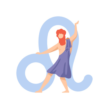 Leo Zodiac Sign, Young Man Wearing Clothes in Style of Ancient Greece Vector Illustration Illustration