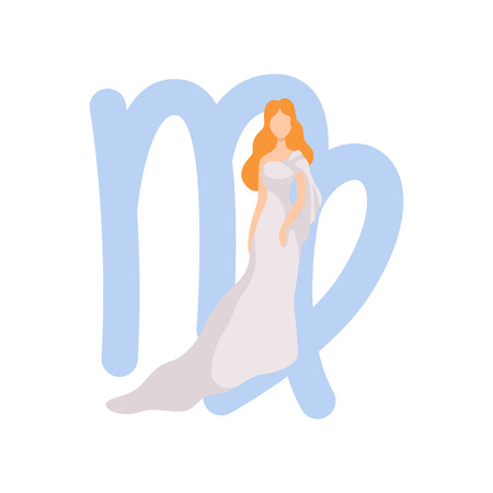 Virgo Zodiac Sign, Young Beautiful Woman Wearing Clothes in Style of Ancient Greece Vector Illustration