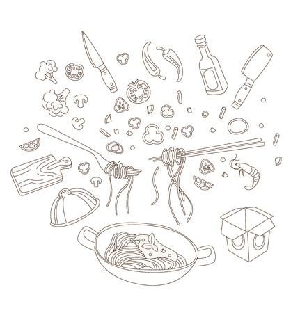 Illustration de wok. Poêle à frire asiatique. Illustration de concept pour le restaurant