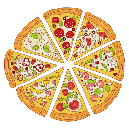 Tasty Sliced Pizza Illustration