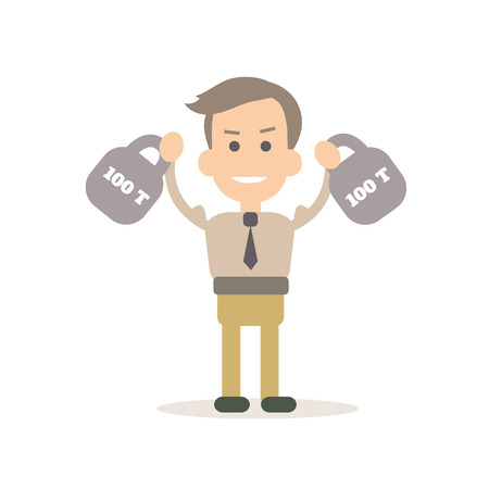 Businessman training vector illustration in flat style