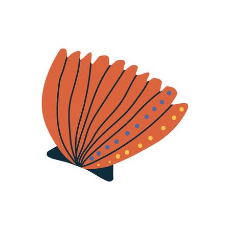 Tropical Orange Shell, Marine Underwater Seashell Vector Illustration
