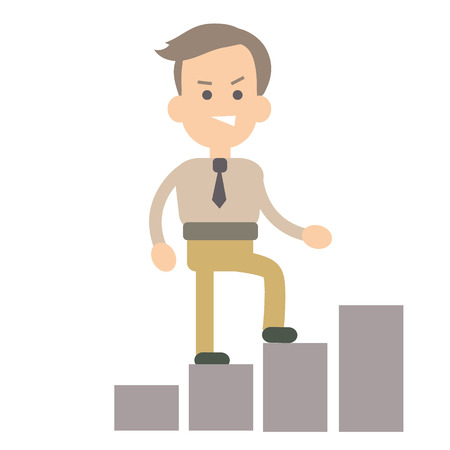 Businessman career growth vector illustration in flat style