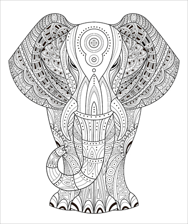 Elephant Vector illustration in style. Hand drawn design elements.