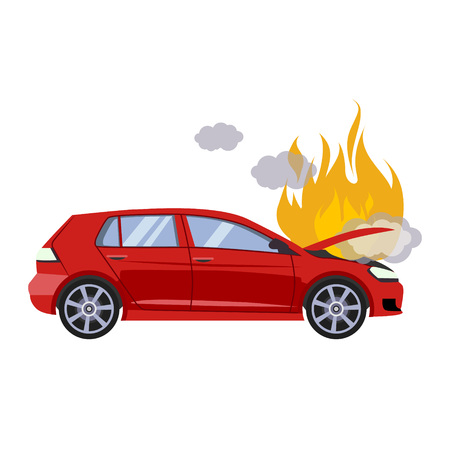 The broken hood of the red car is covered with fire and smoke. Flat style vector illustration isolated on gray background.