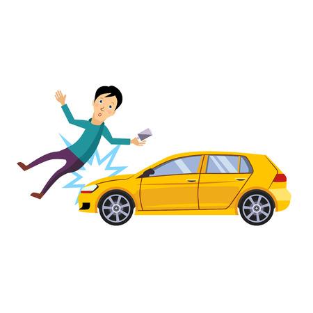 Accidente de tráfico, el vehículo golpeó a la colección de ilustración de vector de estilo plano de hombre