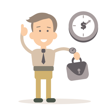 Businessman time management vector illustration in flat style Иллюстрация