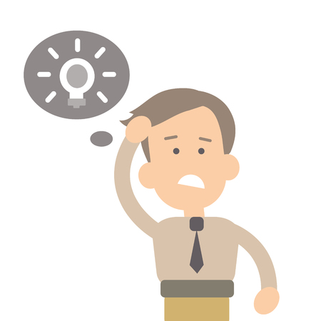 Businessman the solution of the problem, the idea vector illustration in flat style Stock Illustratie