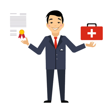 Insurance Contract Colourful Vector Illustration flat style