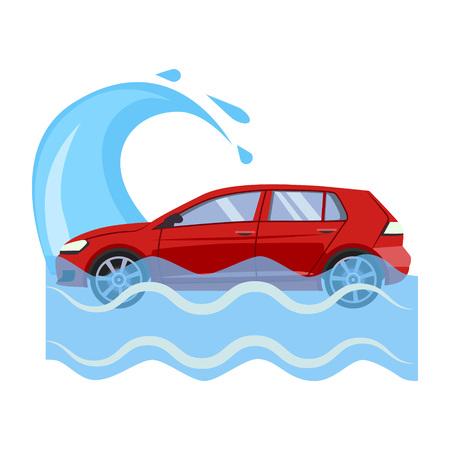 Car Insurance and Flood Risk Colourful Vector Illustration