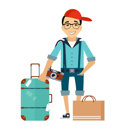 Man with the Luggage traveler Colourful Vector Illustration flat style Çizim