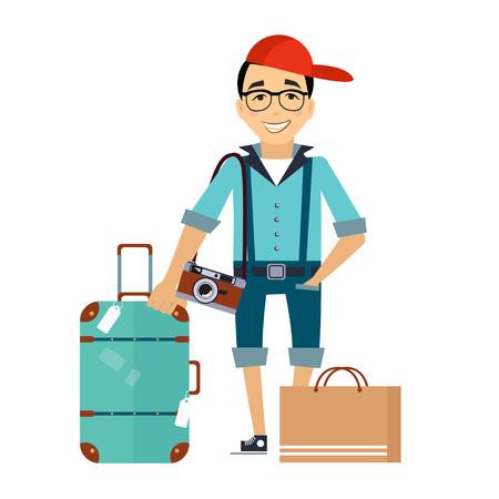 Mann mit der flachen Art des Gepäckreisenden bunte Vektor-Illustration