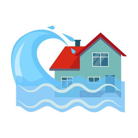Style plat d'illustration vectorielle coloré d'assurance maison contre les inondations Vecteurs