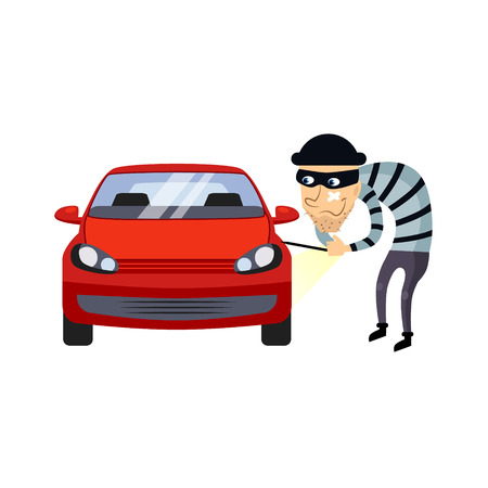 Car Insurance and Theft Colourful Vector Illustration flat style