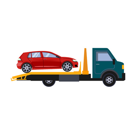 Roadside assistance tow truck illustration car vector Stock Vector - 124490409