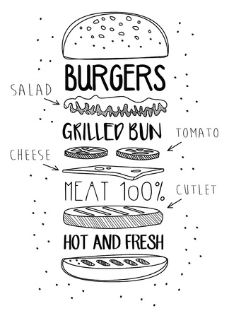 Chalk Drawn Components of Classic Cheeseburger. Иллюстрация