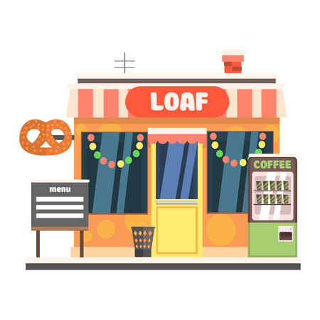 Bakery Front in Christmas. Vector Illustration
