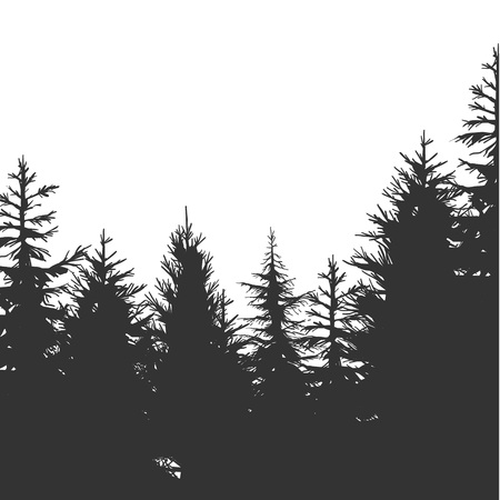 Vintage dennenbos handgetekende achtergrond. vectorillustratie Vector Illustratie