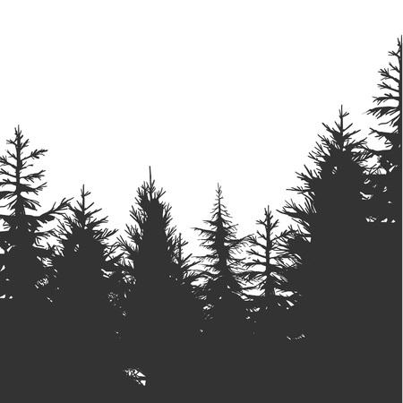 Vintage Pine Forest hand-drawn Background. Vector Illustration Ilustração Vetorial