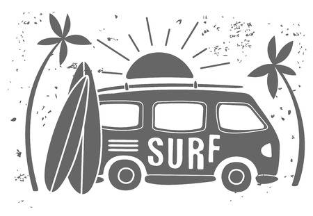 Summer Surf Print with a Mini Van, Palm Trees and Lettering. Vector Illustartion Illustration