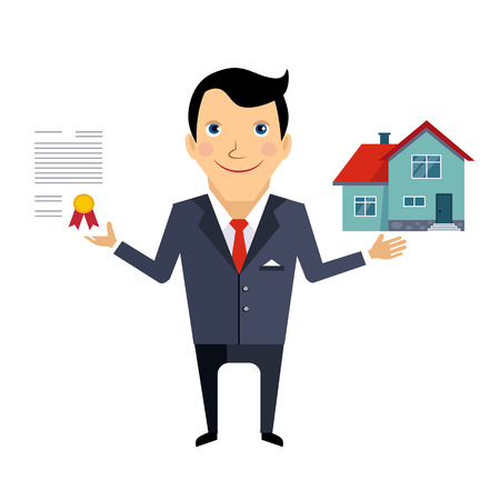 House Insurance Contract Colourful Vector Illustration flat style 일러스트