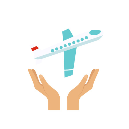 Flight Insurance Colourful Vector Illustration flat style