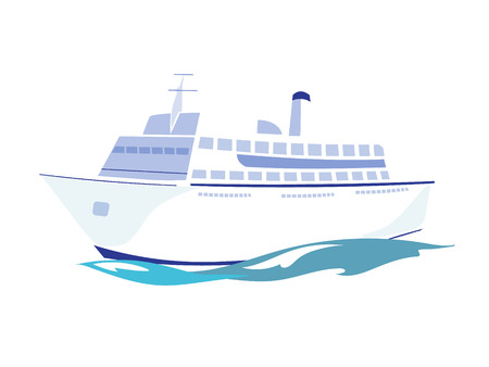 White Passenger Ship on the Water. Flat Vector Illustration