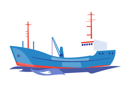 Transportation Ship on the Water. Flat Vector Illustration Ilustração