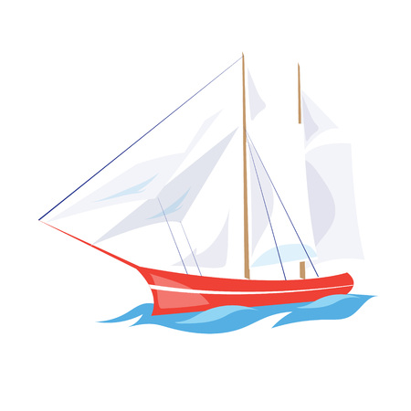 Frigate Ship on the Water. Flat Vector Illustration