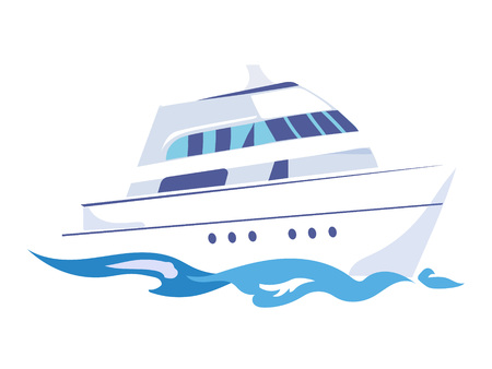 Two-Deck Ship on the Water. Flat Vector Illustration